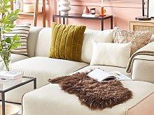Sheepskin Rug Dark Brown 65 x 110 cm Natural High