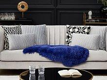 Sheepskin Rug Navy Blue 65 x 110 cm Natural High