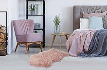 Sheepskin Rug Shaggy Pink Soft Fluffy Bedroom Bed