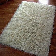 Sheepskin World Flokati Shaggy Wool Rug, Ivory,