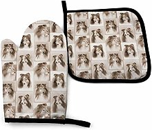 Shelties Oven Mitt Cooking Gloves and Pot Holder