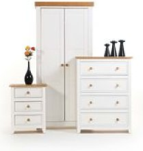 Shelton Solid Pine White Bedroom Suite - Wardrobe,