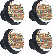Shelves with Books 4PCS Round Drawer Knob Pull