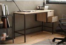Shen Home Office Desk With 2 Drawers (Oak)