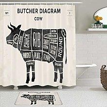 SHENGLIPINK Fabric Shower Curtain and Mats