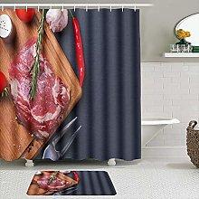 SHENGLIPINK Fabric Shower Curtain and Mats Set,raw