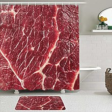 SHENGLIPINK Fabric Shower Curtain and Mats Set,Red