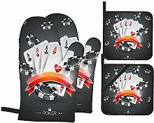 SHENGLIPINK Oven Mitts and Pot Holders Sets of 4,A
