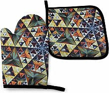 SHENLE Abstract Florals Non-Slip Oven Gloves And