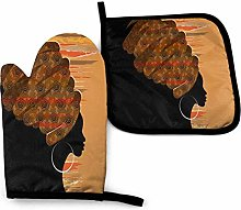 SHENLE African Woman in Brown Turban Oven Gloves