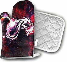 SHENLE Bloody Red Dragon Oven Gloves And Potholder
