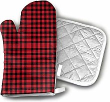 SHENLE Buffalo Plaid Black and Red Oven Gloves And