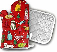SHENLE Christmas Time Jingle Cats Red Oven Gloves
