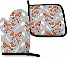 SHENLE Cute Foxes Leaves Gray Oven Gloves And