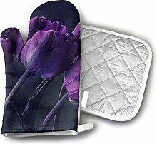 SHENLE Dark Purple Tulip Flower Art Print Oven