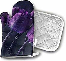 SHENLE Dark Purple Tulip Flower Oven Gloves And