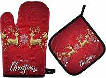 SHENLE Gold Deer Snowflakes Non-Slip Oven Gloves