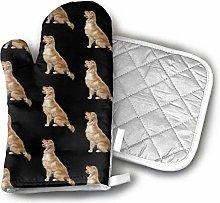 SHENLE Golden Retriever Dogs Oven Gloves And