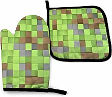 SHENLE Green Squares and Dots Non-Slip Oven Gloves