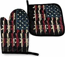 SHENLE Guns of America Flag Us Non-Slip Oven