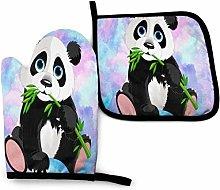 SHENLE Hanging Panda Non-Slip Oven Gloves And