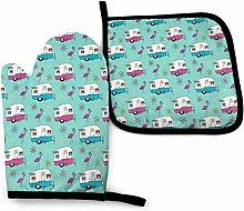 SHENLE Happy Camper 546 Non-Slip Oven Gloves And
