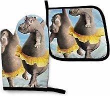 SHENLE Hippo Ballet Dancing Non-Slip Oven Gloves