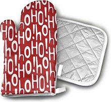 SHENLE Holiday Ho Red Oven Gloves And Potholder