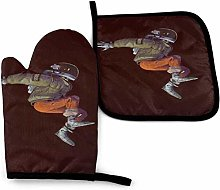 SHENLE Jumping Astronaut Non-Slip Oven Gloves And