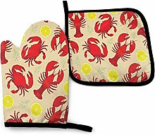 SHENLE Lemon and Crawfish Non-Slip Oven Gloves And