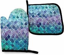 SHENLE Light Color Mermaid Scale Non-Slip Oven