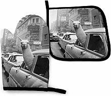 SHENLE Llamas in a Car Non-Slip Oven Gloves And