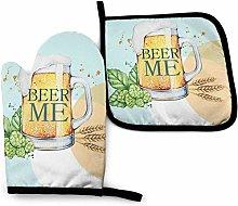 SHENLE Mint Wheat Beer Cheer Non-Slip Oven Gloves