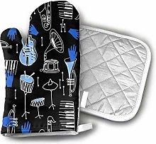 SHENLE Musical Jazz Oven Gloves And Potholder