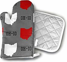 SHENLE Oh-Io State Gray Oven Gloves And Potholder