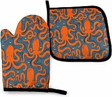 SHENLE Orange Octopus in Blue Non-Slip Oven Gloves