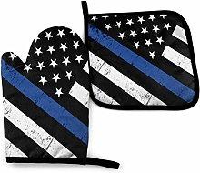SHENLE Police Support Flag Non-Slip Oven Gloves