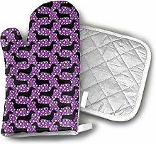 SHENLE Polka Dachshunds Purple and Black