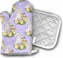 SHENLE Rabbit Easter Friends Purple Oven Gloves
