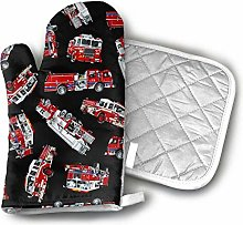 SHENLE Red Fire Fighter Bus Oven Gloves And