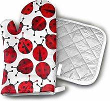 SHENLE Red Ladybugs Oven Gloves And Potholder