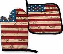SHENLE Red Vintage America Flag Non-Slip Oven