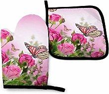 SHENLE Roses and Flower Butterflies Non-Slip Oven