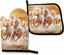 SHENLE Running White Horse.jpeg Non-Slip Oven