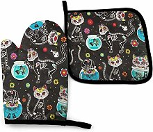SHENLE Skull Cat and Water Tank Fish Non-Slip Oven