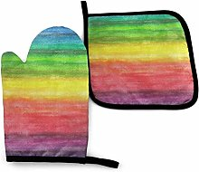 SHENLE Watercolor Rainbow Non-Slip Oven Gloves And