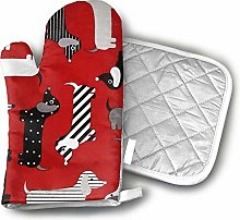 SHENLE Weenie Dogs Red Oven Gloves And Potholder