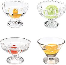 SHHMA Glass Dessert Bowls Sundae Ice Cream Set Of
