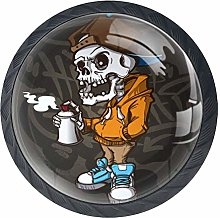 Shiiny Cool Skeleton Graffiti Drawer Knob Pull