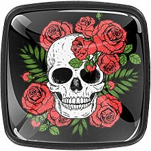 Shiiny Skull and Red Roses 4 Pieces Set Crystal